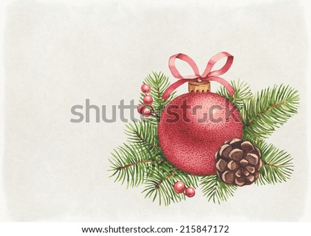 Vintage greeting card. Watercolor Christmas ball and pine with decorations  - stock photo
