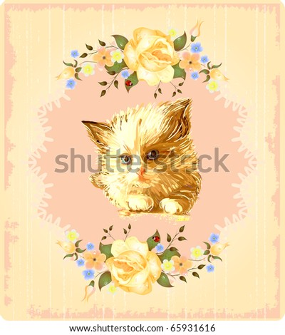 vintage greeting card with kitten and  roses - stock photo