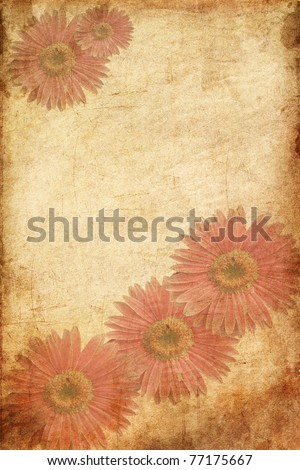 Vintage Greeting floral card - stock photo