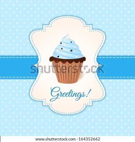 Vintage greetings card with blue cream cake. - stock photo