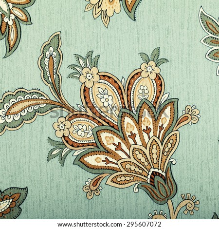 Vintage grey wallpaper with brown vignette victorian pattern, square toned image - stock photo