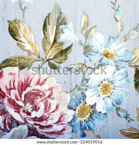 Vintage grey wallpaper with color floral victorian pattern - stock photo
