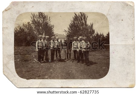 Vintage group photo of officers (Russia, end of 19th century) - stock photo