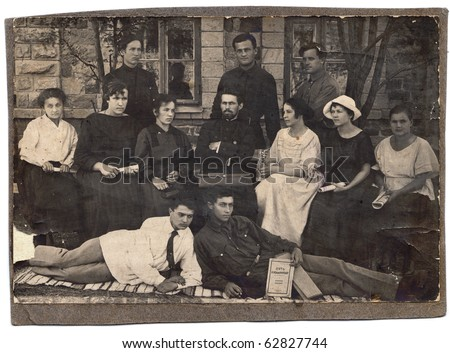 Vintage group photo (Russia, beginning of 20th century) - stock photo