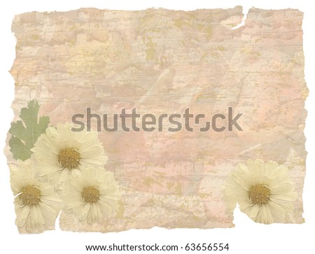 vintage grunge background with flowers - stock photo