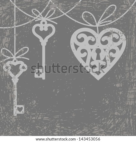 Vintage grunge card with hanging lock shaped heart and skeleton key - stock photo