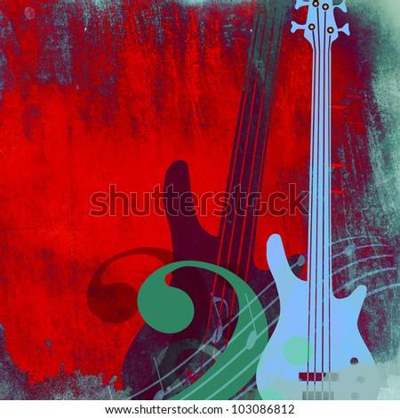 Vintage grunge  guitars background - stock photo