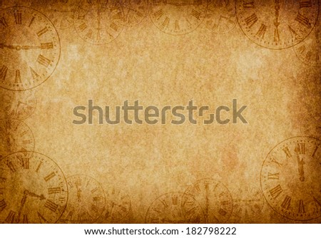 Vintage Grunge Parchment Background with Clock Faces Landscape - stock photo