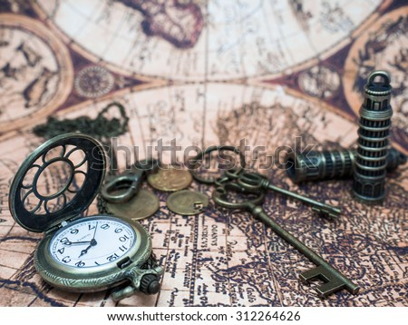 Vintage Grunge Pocket Watch Clock, Skeleton Keys And Retro Items On Ancient Map. - stock photo