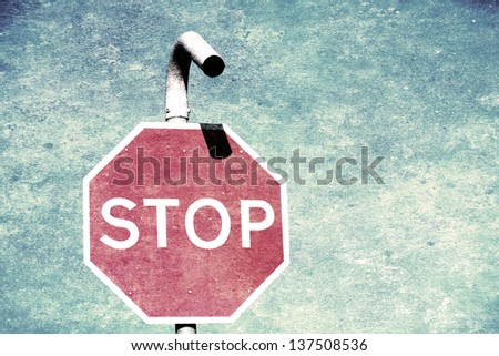 Vintage grunge red stop sign - stock photo