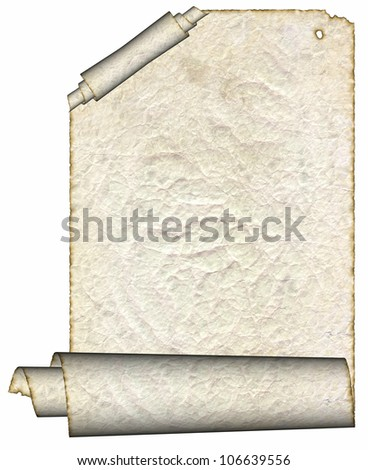 Vintage grunge rolled parchment illustration with ragged borders (natural paper texture) - stock photo