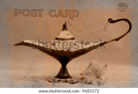 Vintage Grunge Style Postcard With Antique Oil Lamp - stock photo