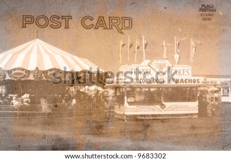 Vintage Grunge Style Postcard With Carnival - stock photo