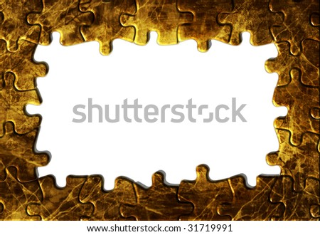 vintage grunge textured paper, puzzle frame with copy space - stock photo