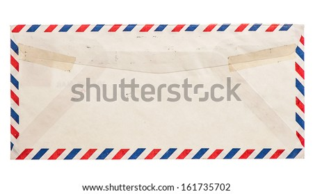 vintage grungy air mail envelope isolated on white background - stock photo