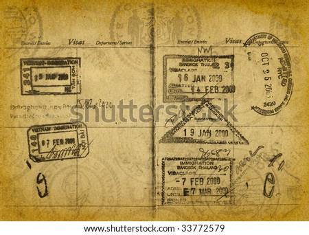 Vintage Grungy Passport Stamps - stock photo