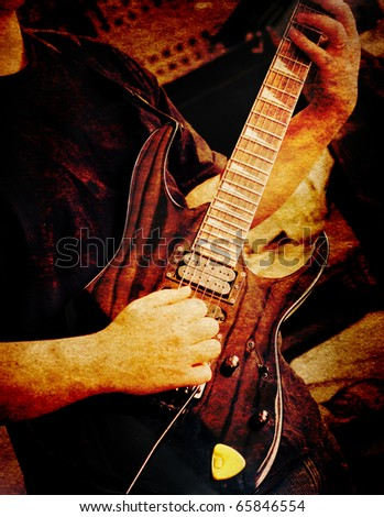 vintage guitarist - stock photo