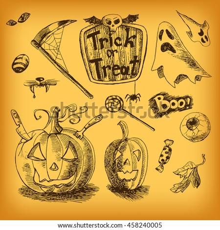 Vintage Hand Drawn Halloween Set Pumpkin Eye Candy Ghost Skull