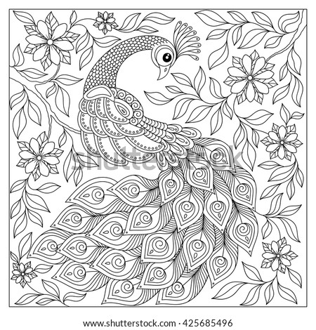 Vintage hand drawn pattern black and white doodle peacock. design. Sketch for adult antistress coloring page, tattoo, poster, print, t-shirt, invitation, cards, banners, flyers, calendars - stock photo