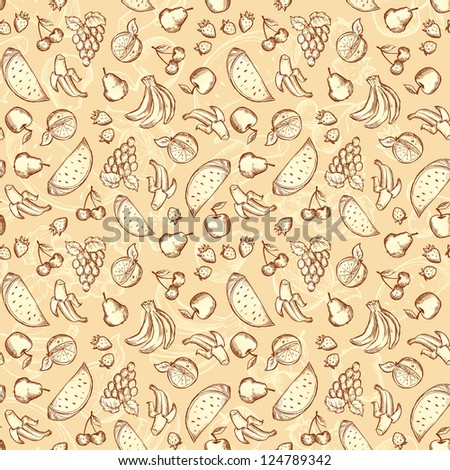 Vintage hand drawn sketched fruits seamless pattern. Vector version also exist.
