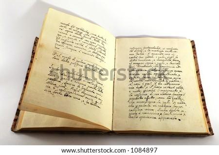 Vintage hand-written book - stock photo