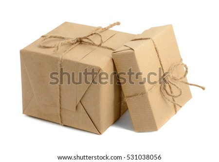 Vintage Handcraft gift boxes wrapped in craft paper and twine isolated on white background.