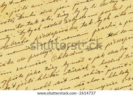 Vintage handwriting from old letter - stock photo