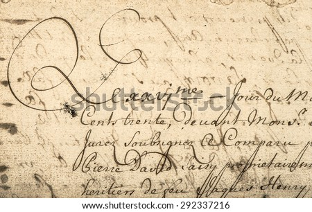 Vintage handwriting with latin text. Manuscript. Parchment. Grunge paper background - stock photo