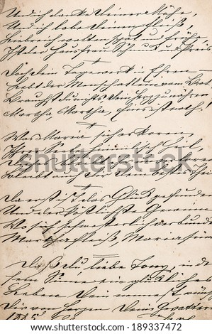 vintage handwriting with undefined text. handwritten text. manuscript. grunge paper background - stock photo