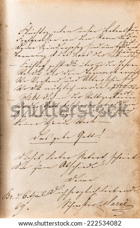vintage handwriting with undefined text. manuscript. grunge paper background