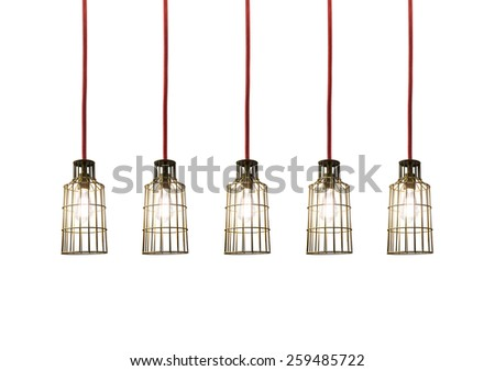 vintage hanging energy light bulbs on wooden white isolated background - stock photo