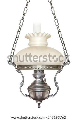 Vintage hanging lamp isolated on white - stock photo
