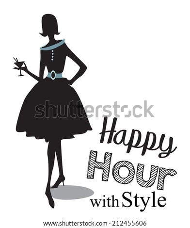 Vintage happy hour Invitation - stock photo