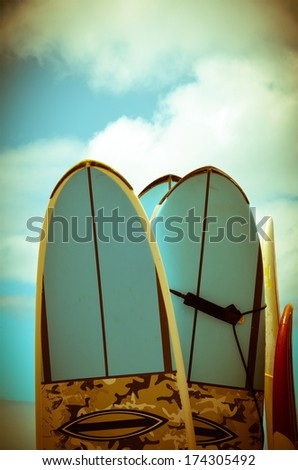 VIntage Hawaii Image Of Retro Styled Surf Boards - stock photo