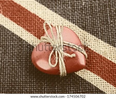Vintage heart gift   - stock photo