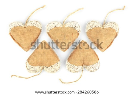 Vintage hearts isolated on white - stock photo