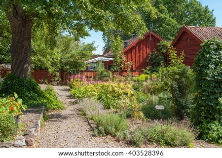 Vintage herb garden on a sunny summer day in Mariefred. This historic idyllic small town is a popular tourist destination