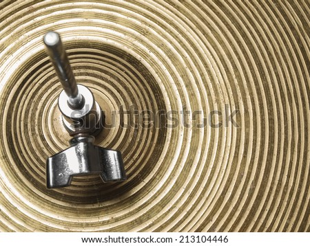 Vintage hi-hat closeup, for music, entertainment themes - stock photo