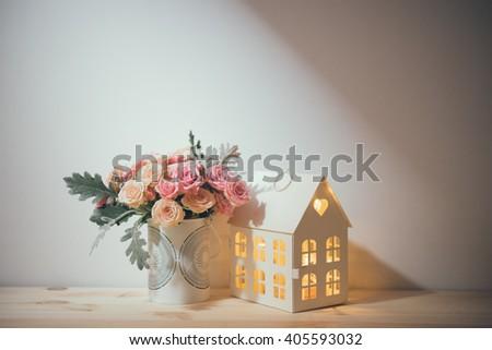 vintage home decorations - stock photo