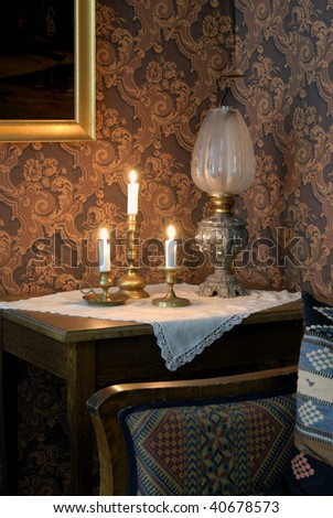 Vintage home interior with candles on a marble table - stock photo