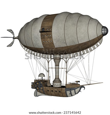 Vintage hot air balloon isolated in white background - 3D render - stock photo