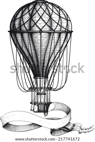 Vintage hot air balloon with waving banner hanging to the basket - stock photo