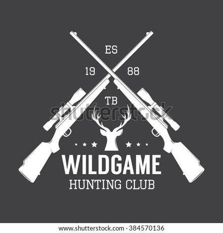 Vintage hunting label, logo or badge and design elements. Illustration - stock photo