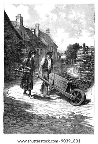 """Vintage illustration of a country man and woman / illustration from book """"La petite soeur par Hector Malot"""" 1882 - stock photo"""