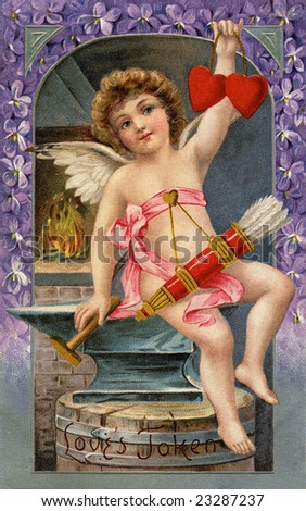 Vintage Illustration of a cupid forging two Valentine hearts, a 1911 Victorian greeting, 'Love's Token' - stock photo