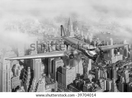 Vintage image of a Douglas DC-3 over New York City - stock photo