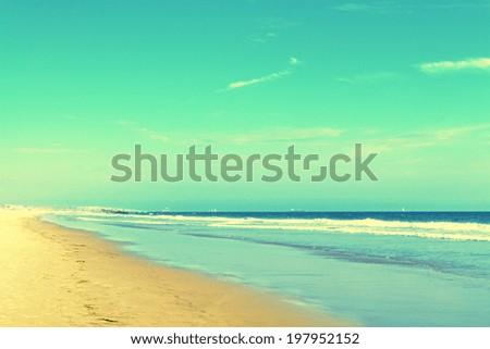 vintage image of beautiful summer beach - stock photo