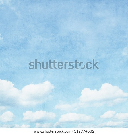 Vintage image of blue sky with clouds. - stock photo