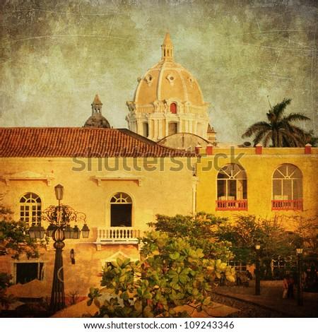 Vintage image of Cartagena, Colombia - stock photo