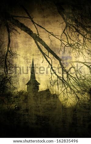 Vintage image of Dracula castle from Transylvania, Romania - stock photo